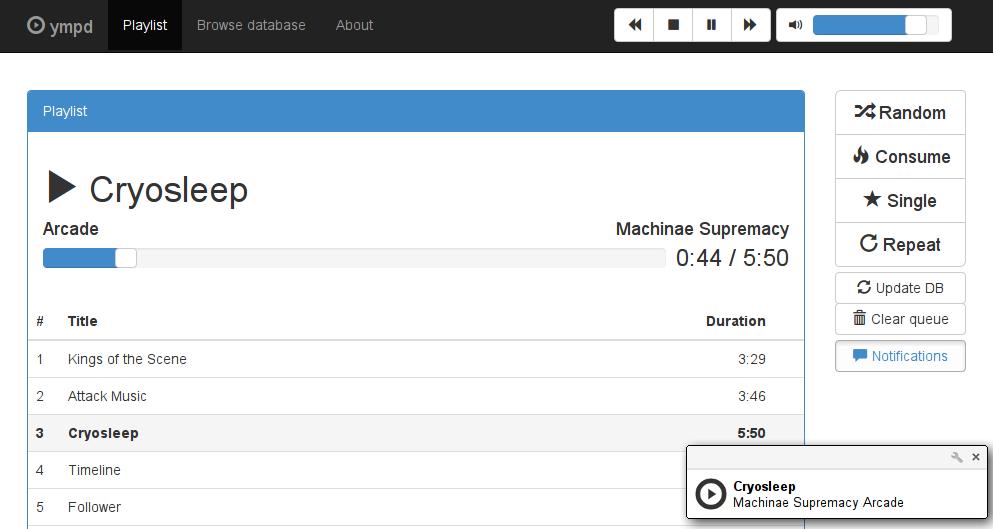ympd - MPD Web GUI written in C, utilizing Websockets and